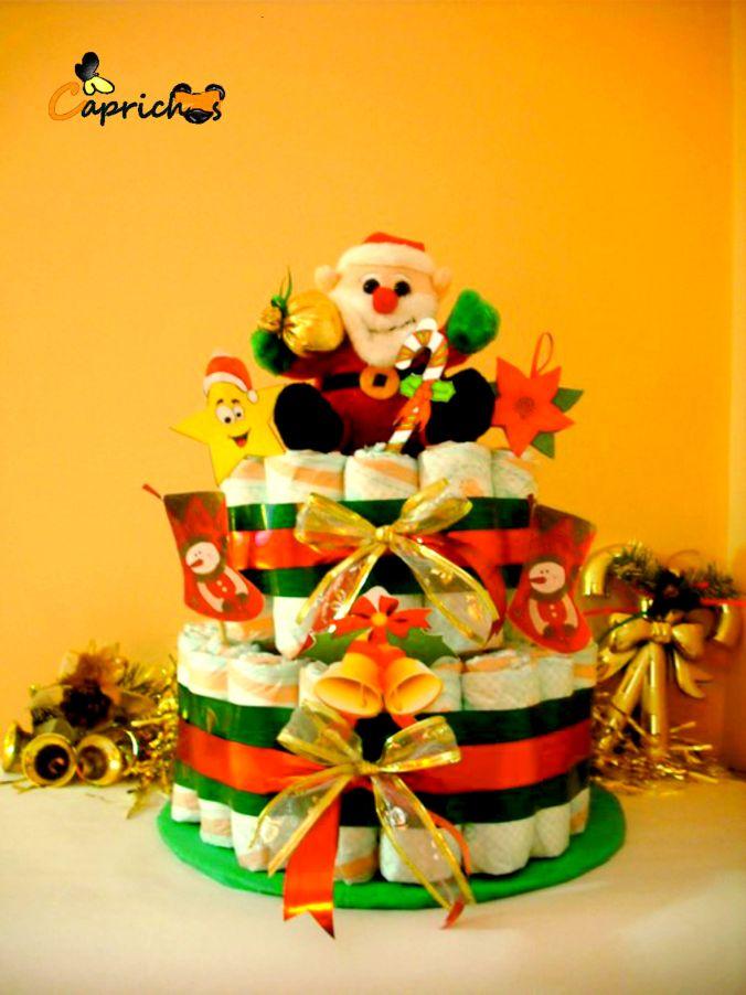 Tarta de pañales Navidad muñeco de nieve
